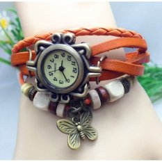Jual G*rl Fashion Stylis Vintage Bracelet Quartz Watch Orange Branded Original