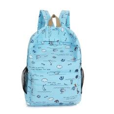 Girl's Travel Ransel Kanvas Bahu Tas untuk Siswa Sekolah (biru Muda)-Intl