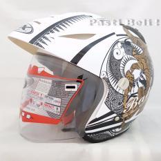 GIX - Batik Half Face Helmet - Putih Emas