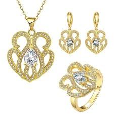 Glisten Perhiasan Set Party Kuningan Wanita Zirkon Emas Plated Earrings Kalung Cincin dengan Bunga