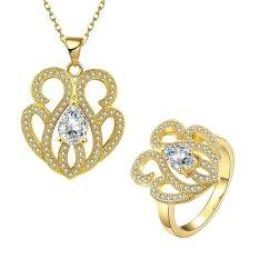 Glisten Perhiasan Set Party Kuningan Wanita Zirkon Cincin Berlapis Emas Kalung dengan Bentuk Bunga