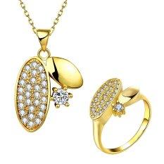 Glisten Perhiasan Set Party Kuningan Wanita Zirkon Cincin Berlapis Emas Kalung dengan Bentuk Oval
