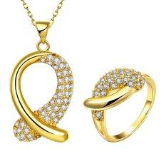 Glisten Perhiasan Set Party Kuningan Wanita Zirkon Cincin Berlapis Emas Kalung dengan Bentuk Unik