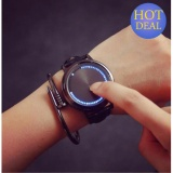 Harga Bercahaya Pria Ladies Watch Vanier Fashion Touch Screen Led Black Leather Watch Intl Di Tiongkok