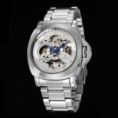 GOER Brand Luxury Silver Skeleton Otomatis Mekanis untuk Pria Stainless Steel Watch-Intl