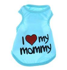 Goges Cute I Love Mommy Kecil Anti-bahan Kimia Katun T Shirt Vest (Light Biru, S)