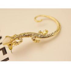 Gold Kristal Berlian Imitasi Penutup Telinga Anting-Anting Mewah Gecko Kancing Anting