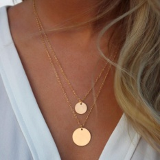 Emas Infinity Charm Simple Double Layers Chain Sequins Pendant Kalung-Intl