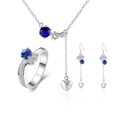 Emas Perhiasan Online Shopping Women Romantis Tembaga Partai Bridal Perhiasan Set Anting Cincin Kalung Round Antique Silver Berlapis-Internasional
