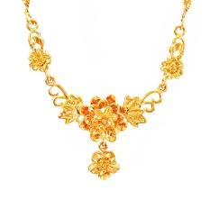 Berlapis Emas 24 K Emas Perhiasan Modis Wanita Bunga Kalung Bride Pernikahan Perhiasan Imitasi Emas Rantai Tulang-Intl