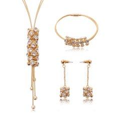 Berlapis Emas Kristal untuk Wanita Bridal Diamond Berlian Imitasi Anting Kalung Rantai Gelang 4 Pcs Set Sederhana Seksi Perhiasan