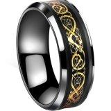 Emas Disepuh Dragon Skala Dragon Pola Beveled Tepi Celtic Cincin Perhiasan Pernikahan Band Untuk Pria Intl Murah