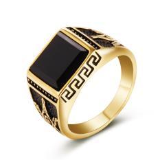 Pria Berlapis Emas Masonic Ring Dengan Cincin Kawin Hitam Batu Stainless Steel Untuk Pria Freemasonry Cincin Bague Homme-Intl By Lanbaoltd.