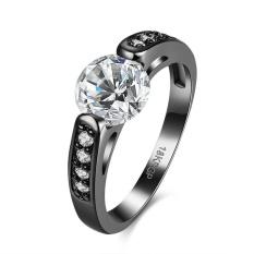 Emas Silver Plated Cincin Pernikahan Love Crystal Pasangan Wanita Zircon Cincin Fashion untuk Wanita dengan Berlian Tembaga Perhiasan- US UKURAN 6-Intl