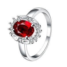 Emas Silver Plated Cincin Pernikahan Love Crystal Pasangan Wanita Zircon Cincin Fashion untuk Wanita dengan Berlian Tembaga Perhiasan- US UKURAN 7-Intl