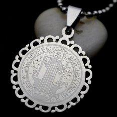 Spesifikasi Gold Silver Tone Stainless Steel Patron Saint St Benedict Holy Oil Pendant Necklace Chain 60 Cm Panjang Froral Bingkai Intl Bagus