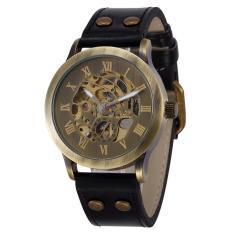 Goplm 2016 Brand Shenhua Vintage Roma Mechanical Watch Men Antik Perunggu Skeleton Automatic Mechanical Watch Leather Strap Jam Tangan (Emas)