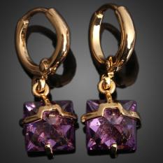 Cantik Kotak Hadiah Anting-anting 18 Karat Gold Fil Diamante Subang Ungu