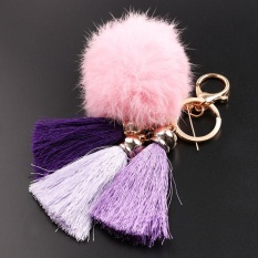 Gosport Cute Pompom Bola Bulu Gantungan Jumbai Keychain Key Ring (Pink)-Intl