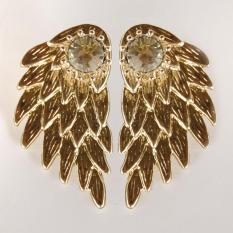 Gothic Women's Cool Perhiasan Angel Wings Berlian Imitasi Paduan Jatuhkan Anting Tindik-Emas-Intl