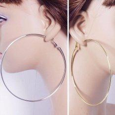Harga Gracefulvara Fashion Women Emas Perak Logam Lingkaran Besar Halus Cincin Besar Hoop Anting Anting Chic Intl Satu Set