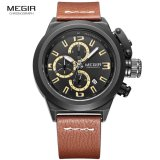 Promo Toko Megir 2029 Jam Tangan Pria Mens Fashion Chronograph Chrono Aktif Luminous Quartz Wristwatch Casual Leather Waterproof Analog Watch For Man Brown