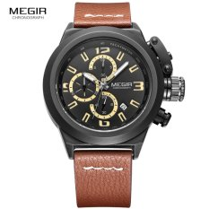 Beli Megir 2029 Jam Tangan Pria Mens Fashion Chronograph Chrono Aktif Luminous Quartz Wristwatch Casual Leather Waterproof Analog Watch For Man Brown Megir