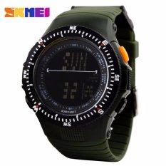 Spesifikasi Great Skmei 0989 Sniper Jam Tangan Digigtal Sport Pria Water Resistant 50M Rubber Strap Hijau Army Lengkap
