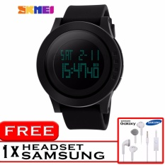 GREAT SKMEI 1142 Jam Tangan Digigtal Sport Pria Water Resistant 50m Rubber Strap - Hitam + Free Headset Samsung HD Audio 3.5mm Jack Audio