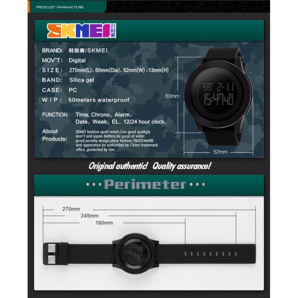 Original SKMEI 1142 Jam Tangan Digigtal Sport Pria Water Resistant 50m Rubber Strap - Hitam +