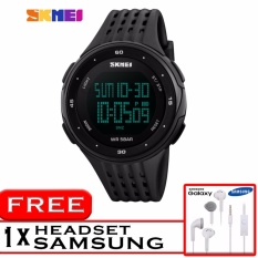 GREAT SKMEI 1219 Jam Tangan Digigtal Sport Pria Water Resistant 50m Rubber Strap - Hitam + Free Headset Samsung HD Audio 3.5mm Jack Audio