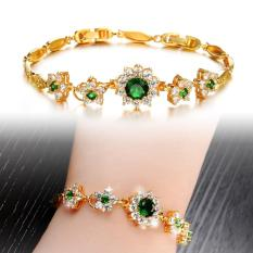 Green Crystal Bracelet Perhiasan Wanita Emas Disepuh Charm Bracelet Fashion Gelang Berlapis Emas untuk Wanita-0 Intl