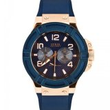 Harga Guess W0247G3 Rigor Jam Tangan Pria Navy Blue Rubber Stainless Steel Guess Watch Fullset Murah