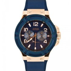 Jual Guess W0247G3 Rigor Jam Tangan Pria Navy Blue Rubber Stainless Steel Guess Watch Branded Original