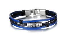 Beli Guyue Men S Genuine Leather Braided Bracelet Bangle Stainless Steel Titanium Steel Guyue Online
