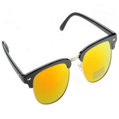 Half Gold Frame Style Sunglasses Vintage Retro Unisex Sunglasses Yellow Terbaru