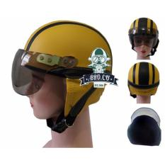 Handmade Helm anak shincan lucu motif polos Kuning Garis Hitam untuk usia 1 sampai 4 tahun - Kuning
