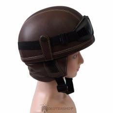 Handmade Helm Chips Kulit Synthetic Leather Retro Klasik With Goggle Kacamata Brown Solid Cokelat Handmade Murah Di Indonesia