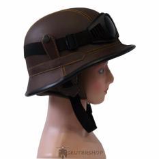 Harga Handmade Helm Nazichips Retro Klasik Synthetic Leather With Goggle Kacamata Brown Solid Handmade Ori