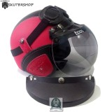 Model Handmade Helm Retro Kaca Bogo Dan Kacamata Bonus Pet Klasik Full Synthetic Leather Merah Hitam Terbaru