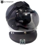 Handmade Helm Retro Kaca Bogo Dan Kacamata Bonus Pet Klasik Full Synthetic Leather Hitam Original