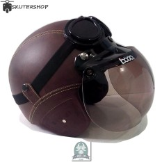 Handmade Helm Retro Kaca Bogo dan Kacamata Klasik Full Synthetic Leather - Cokelat