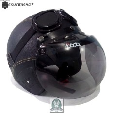 Jual Handmade Helm Retro Kaca Bogo Dan Kacamata Klasik Full Synthetic Leather Hitam Murah