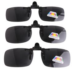 Hang-qiao Unisex Terpolarisasi Membalik Up Klip Kacamata Klip Kacamata Eyewear Black Grey Kacamata Minus Sunglass Goggle Produk untuk Memancing Berkendara Bepergian M-Intl