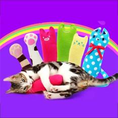 Hanyu Baru Kucing Peliharaan Permen Warna Claw Bantal Mainan Biru-Intl