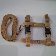 Harness H uk S + Leash Coklat Muda untuk Kucing, Kelinci, Musang, Puppy Small breed