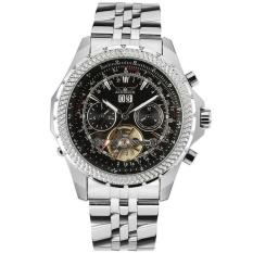 Hazyasm Deluxe Jaragar Relogio Jam Tangan Maskulin Pria Hitam Panggil Mesin Otomatis Penggerak Angin Watch Jam Tangan Kotak Hadiah Gratis Kapal (Hitam)-Intl