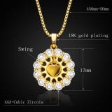 Promo Liontin Bentuk Hati Baru Perhiasan Trendi 18 Karat Berlapis Emas Bunga Kristal Liontin P30132