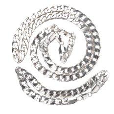 Pria Berat 18 K Emas Putih Diisi Kalung/Gelang Set 98g Curb Chain