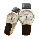 Jual Hegner Couple Quartz 317Bg Leather Strap Black Gold